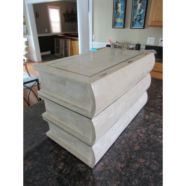 Tessellated Stone Chest -Artfully Designed Stack of Books - Image 7 of 11