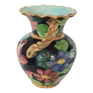 Vallauris Mid Century Ceramic Flowered Vase With Rope Shaped Handles For Sale