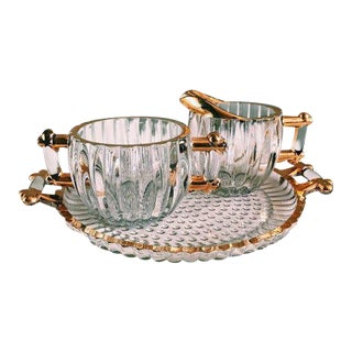 Vintage Hollywood Regency Glass Cream + Sugar Set W/ Gold Leaf Detailing - 3 Pc. Set For Sale