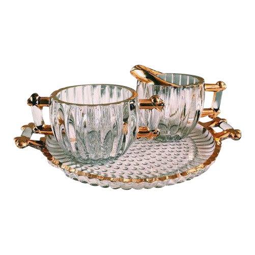 Vintage Hollywood Regency Glass Cream + Sugar Set W/ Gold Leaf Detailing - 3 Pc. Set For Sale