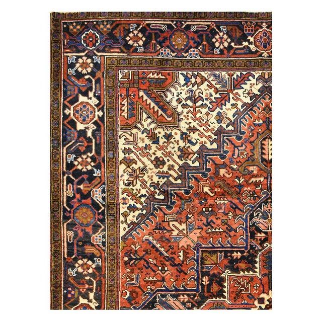 Vintage Persian Heriz Rug - 7'1'' X 9'5'' For Sale - Image 5 of 5