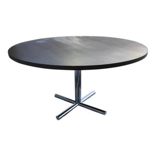 Florence Knoll Large Walnut on Chrome Dining Table For Sale