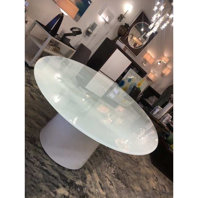 Italian Antares Italian Oval Glass White-Lacquer Base Table For Sale - Image 3 of 10