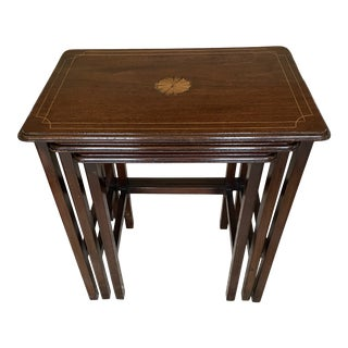 Vintage Mahogany Inlaid Nesting Tables - Set of 3 For Sale