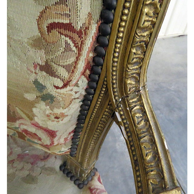Pair of French Louis XVI Style Needlepoint Fauteuils For Sale - Image 10 of 11