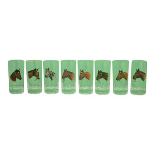 Mid 20th Century Vintage Sintzenich Highball Racehorse Glasses- Set of 8 For Sale
