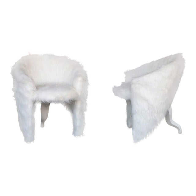 Pair of White Surreal Faux Fur Lounge Chairs For Sale