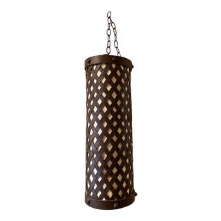 Spanish/Mediterranean Style Wrought Iron Cylindrical Swag Lamp With Tapa Cloth Paper For Sale