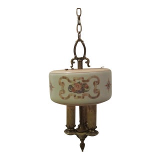 1920s Lightolier 3 Light Pendant Chandelier For Sale