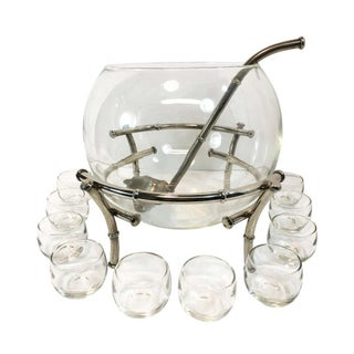 Faux Bamboo Silver Plate Clear Glass Punch Set - 13 Piece Set For Sale
