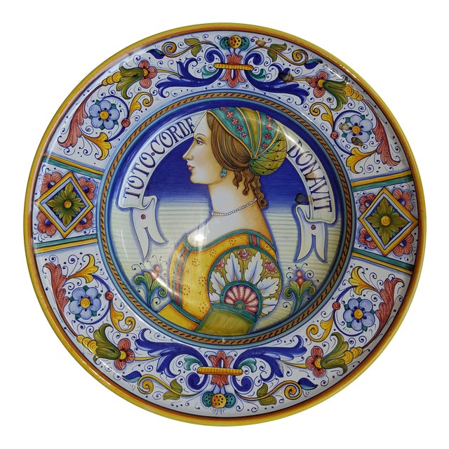 "Large GP Deruta Renaissance Portrait Wall Plate ""Toto Corde Donavit"" For Sale"