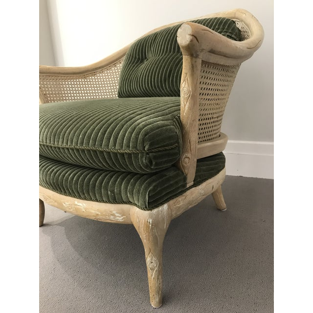 Olive 1960s Faux Bois / Cane Arm Chair With Green Corduroy For Sale - Image 8 of 13