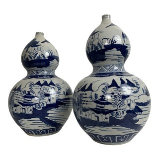 Hand Painted Gourd Vases - a Pair For Sale