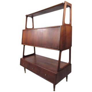Mid-Century Drop Front Desk or Bookshelf Cabinet For Sale