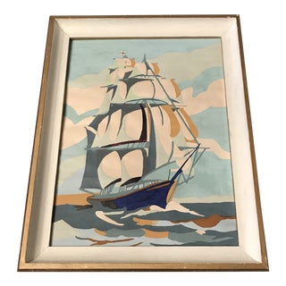 Vintage Modern Boat Paint by Number Painting For Sale
