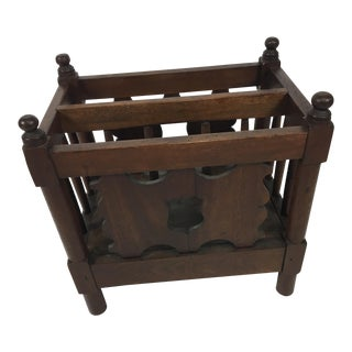 1940s Folk Art Walnut Magazine Rack For Sale