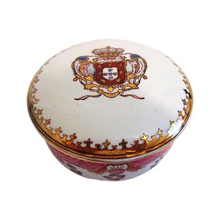 1980s 22k Coat-Of-Arms Lidded Bowl For Sale