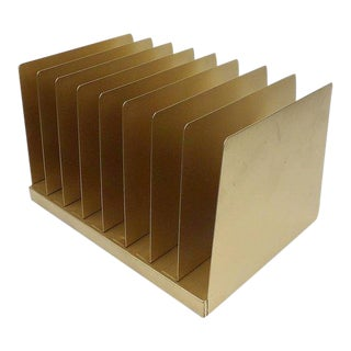 Gold Metal Desk Organizer / File Album Rack For Sale