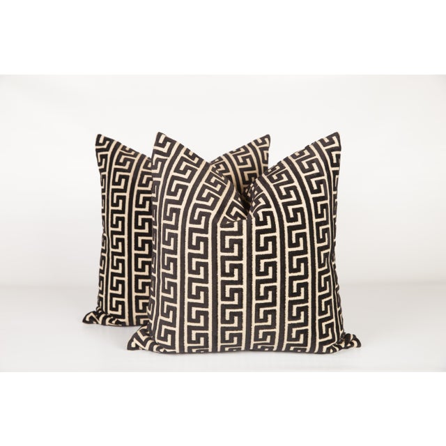 2010s Black and Cream Cut Velvet Greek Key Pillows, a Pair For Sale - Image 5 of 5