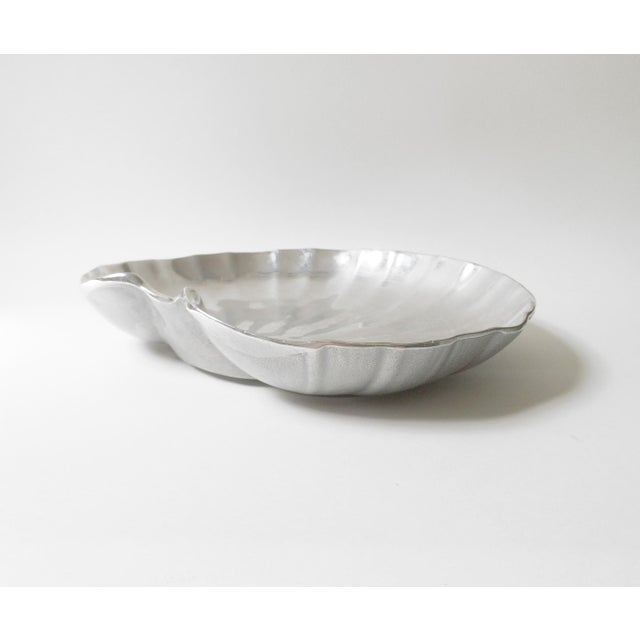 Boho Chic Wilton Pewter Shell Shaped Silver Serving Platter or Tray For Sale - Image 3 of 7