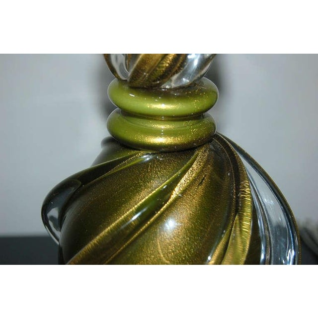 Gold Marbro Murano Glass Table Lamps Green Gold For Sale - Image 8 of 9