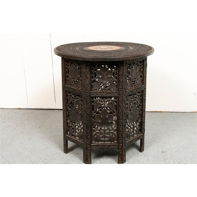 Early 20th Century Indian Bone Inlaid Octagonal Occasional Table For Sale - Image 10 of 10