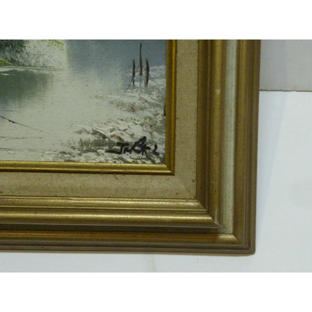 "J. Baker Original Framed ""Village on the Water"" Painting on Canvas - Image 4 of 6"