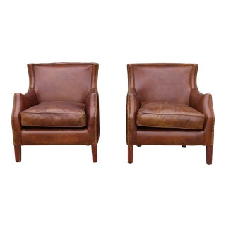 Leather Pair of Club Chairs
