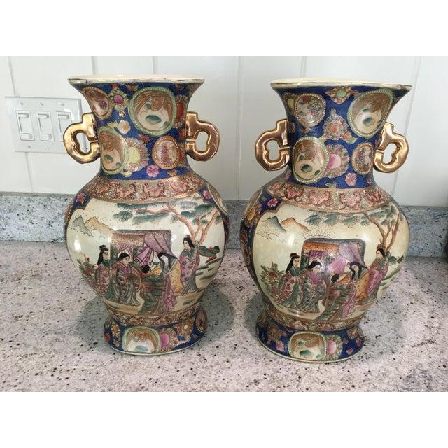 Blue White Satsuma Vases A Pair Chairish