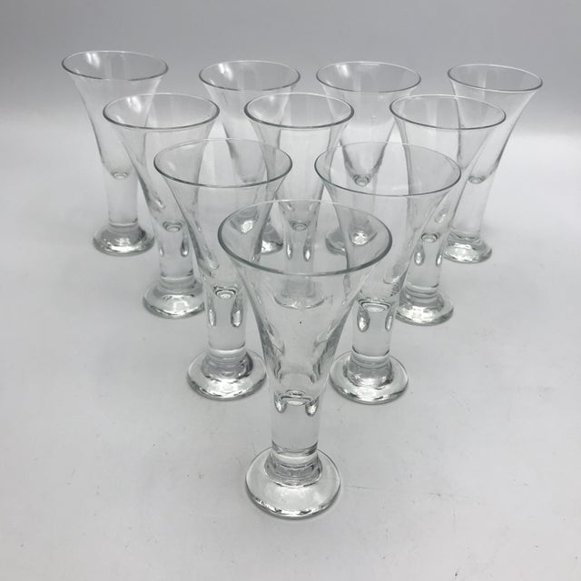 Contemporary Vintage Blenko Blown Crystal Tavern Pattern Cordial or Shot Glasses - Set of 8 For Sale - Image 3 of 6