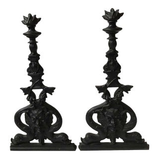 Large Iron North Wind and Dolphin Andirons - a Pair For Sale