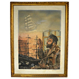 Sailboat Model Oil Painting on Burlap For Sale