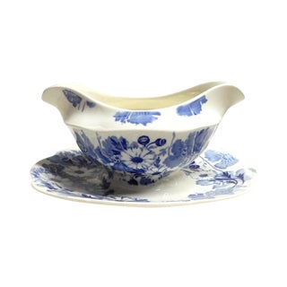 English Blue & White Gravy Boat For Sale