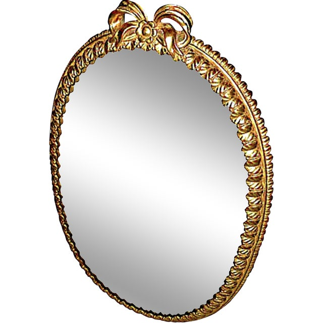 Oval Italian Gilt Mirror with Bow For Sale