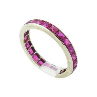 Art Deco Channel Set Ruby & 14k White Gold Eternity Band For Sale