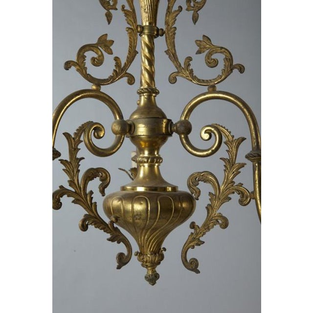 Brass French Three Light Solid Cast Brass Chandelier For Sale - Image 7 of 8