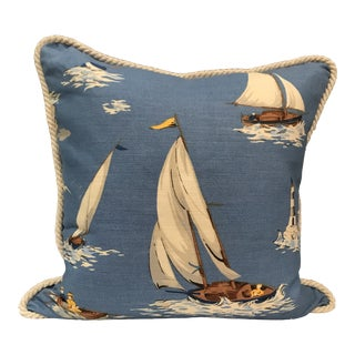 Nautical Scalamandre Breezy Point Blue Linen Print Pillow #1 Beach House Lake House For Sale