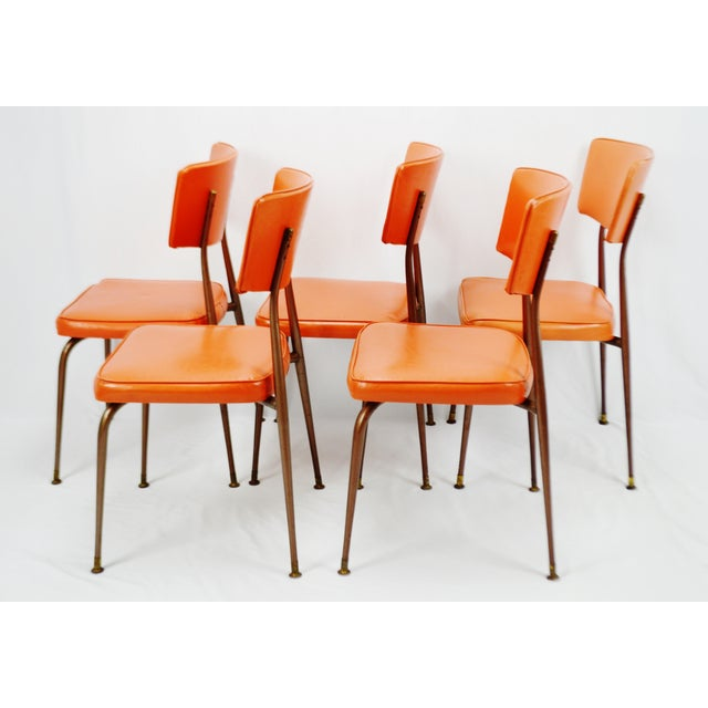 Mid-Century Modern Orange Dining Chairs - Set of 5 - Image 6 of 11