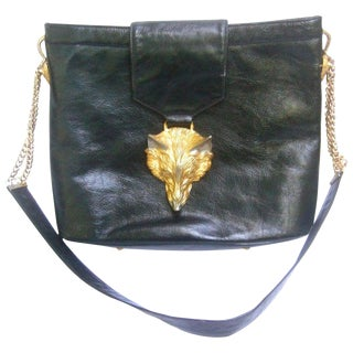 Avant Garde Fox Emblem Black Leather Handbag Designed by Harry Rosenfeld C 1970s For Sale