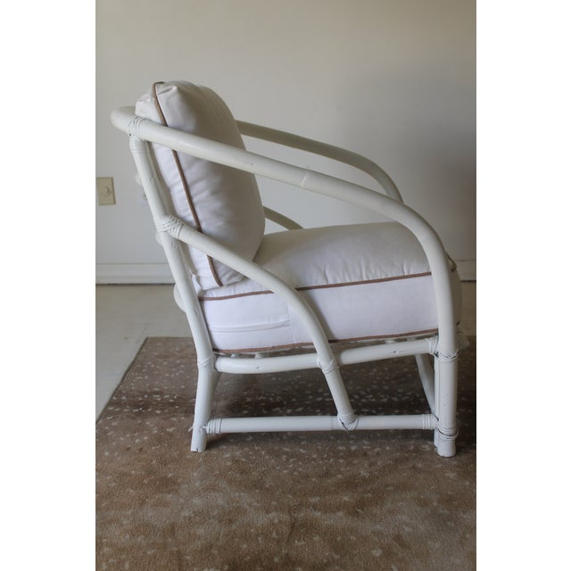 Vintage Mid Century White Bamboo Chairs - a Pair For Sale - Image 10 of 12