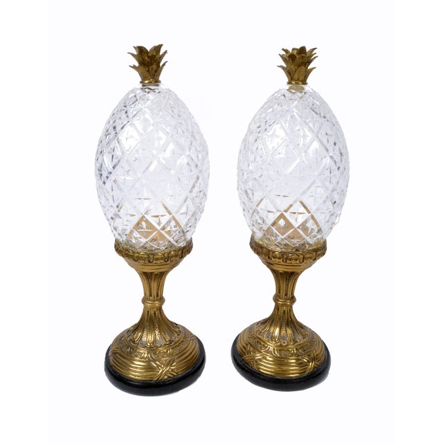 Maitland-Smith Bronze and Crystal Pineapple Ornaments, Germany, a Pair For Sale - Image 9 of 9