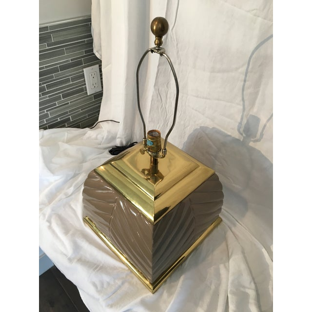 Metal 1970s Modern Chevron Taupe Ceramic & Brass Table Lamp For Sale - Image 7 of 10