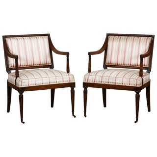 Neoclassical Louis XVI Style Armchairs - a Pair For Sale