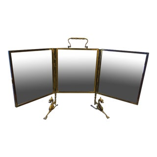 French Triptych Tabletop Mirror on Stand For Sale