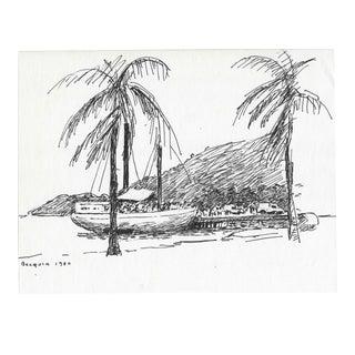 1980 Becquia Caribbean Beach Drawing by Cirker For Sale