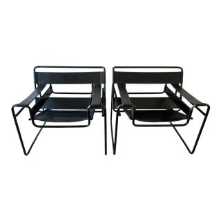 1970s Vintage Wassily Style Chairs With Black Frames - a Pair For Sale