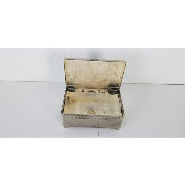 Vintage Vera Lucino Greek Key Design Silver Plate Decorative Box For Sale - Image 9 of 10
