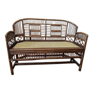 20th Century Chinoiserie Brighton Pavilion Caning Bench For Sale