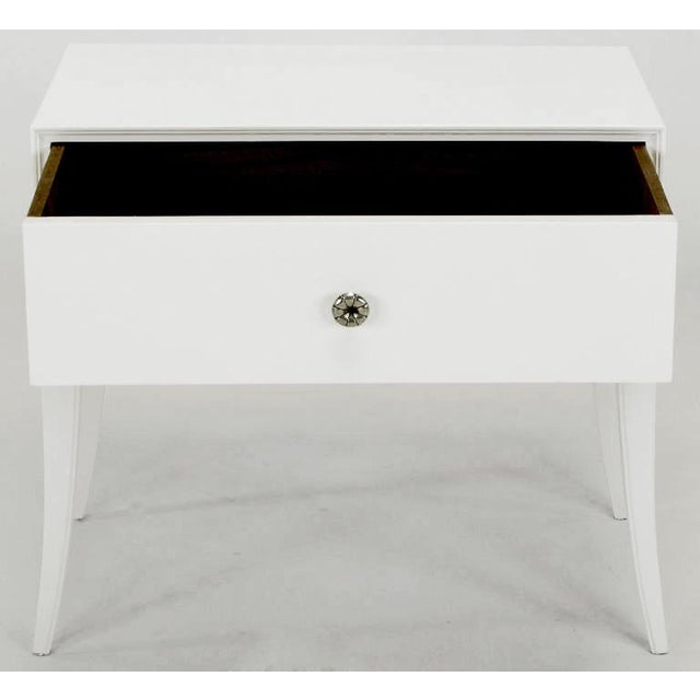 Charak Furniture Company Tommi Parzinger White Lacquered Nightstand For Sale - Image 4 of 10