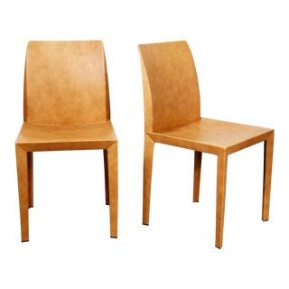 Pair Poltrona Frau Lola Dining Side Chairs by Pierluigi Cerri Vintage Cognac Leather For Sale